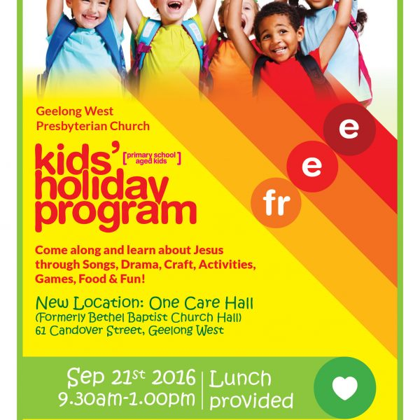 Kids Holiday Program Sept 21st