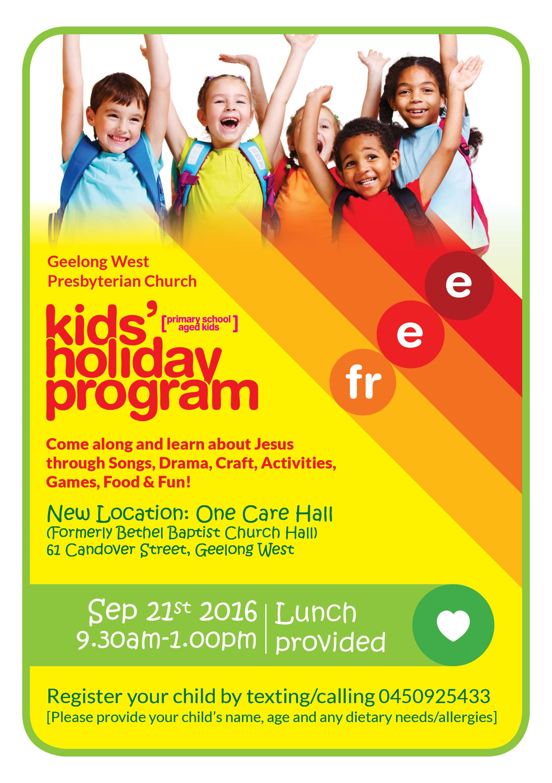 Kids Holiday Program Sept 21st | Geelong West Presbyterian Church